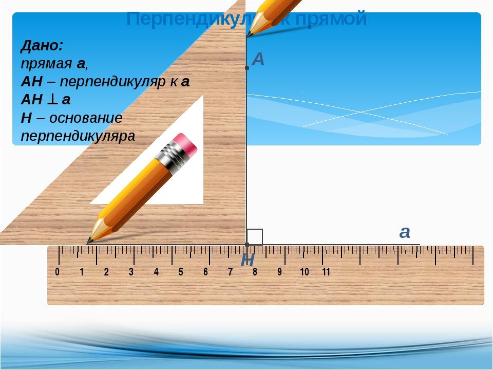 Перпендикуляр к прямой Дано: прямая а, АН – перпендикуляр к а АН  а Н – осно...