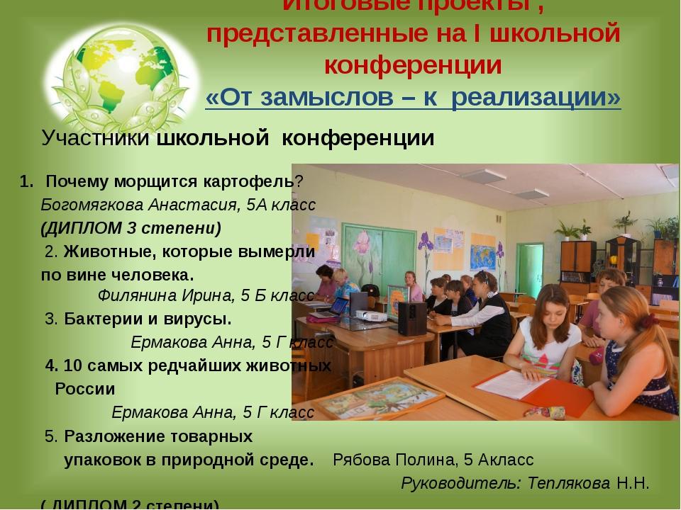 Итоговые проекты , представленные на I школьной конференции «От замыслов – к...