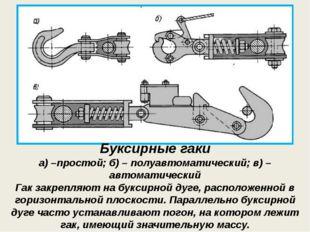 Буксирные гаки Буксирные гаки а) –простой; б) – полуавтоматический; в) – авто