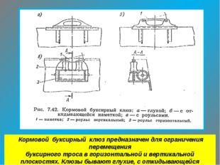 Кормовой буксирный клюз предназначен для ограничения перемещения буксирного