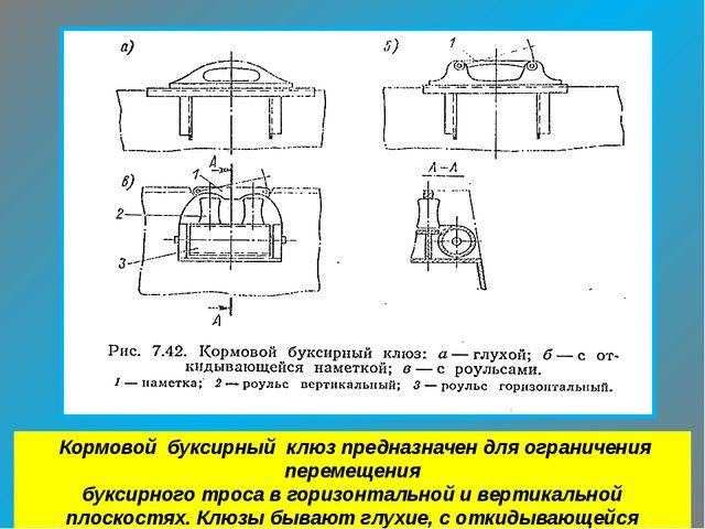 Кормовой буксирный клюз предназначен для ограничения перемещения буксирного...