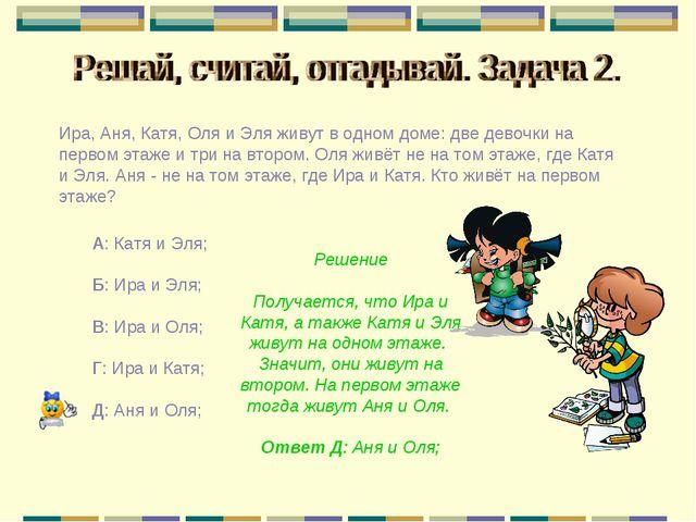 Ира, Аня, Катя, Оля и Эля живут в одном доме: две девочки на первом этаже и т...