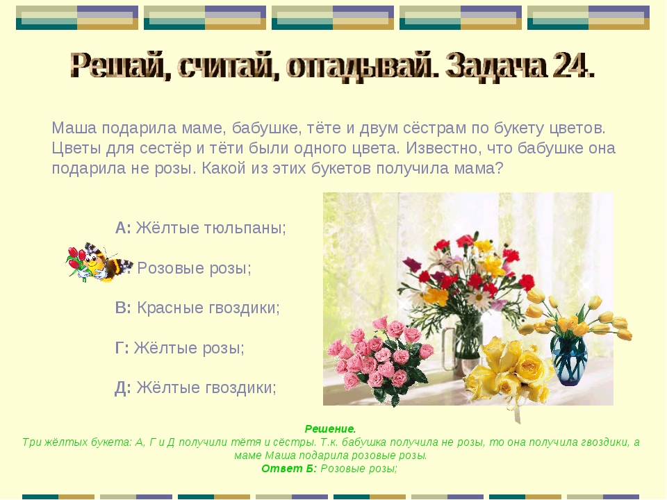 Маша подарила маме, бабушке, тёте и двум сёстрам по букету цветов. Цветы для...