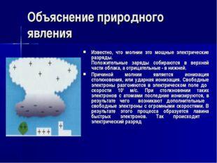 Объяснение природного явления Известно, что молнии это мощные электрические р