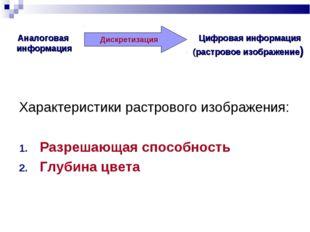 Аналоговая информация Цифровая информация (растровое изображение) Дискретизац
