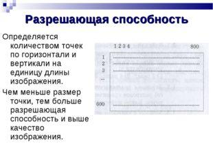 Разрешающая способность Определяется количеством точек по горизонтали и верти