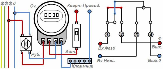 схема подключения однофазного электрического счётчика