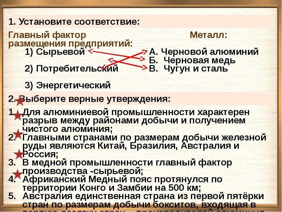 1. Установите соответствие: Главный фактор размещения предприятий: Сырьевой...