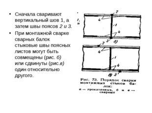 Сначала сваривают вертикальный шов 1, а затем швы поясов 2 и 3. При монтажной