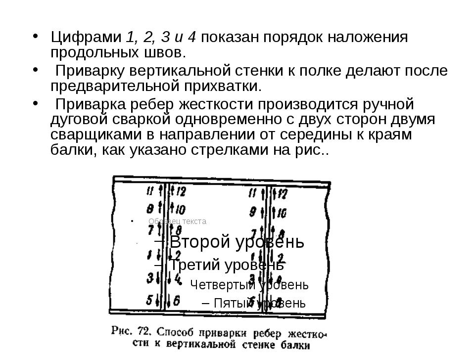 Цифрами 1, 2, 3 и 4 показан порядок наложения продольных швов. Приварку верти...
