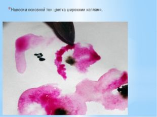 Наносим основной тон цветка широкими каплями.