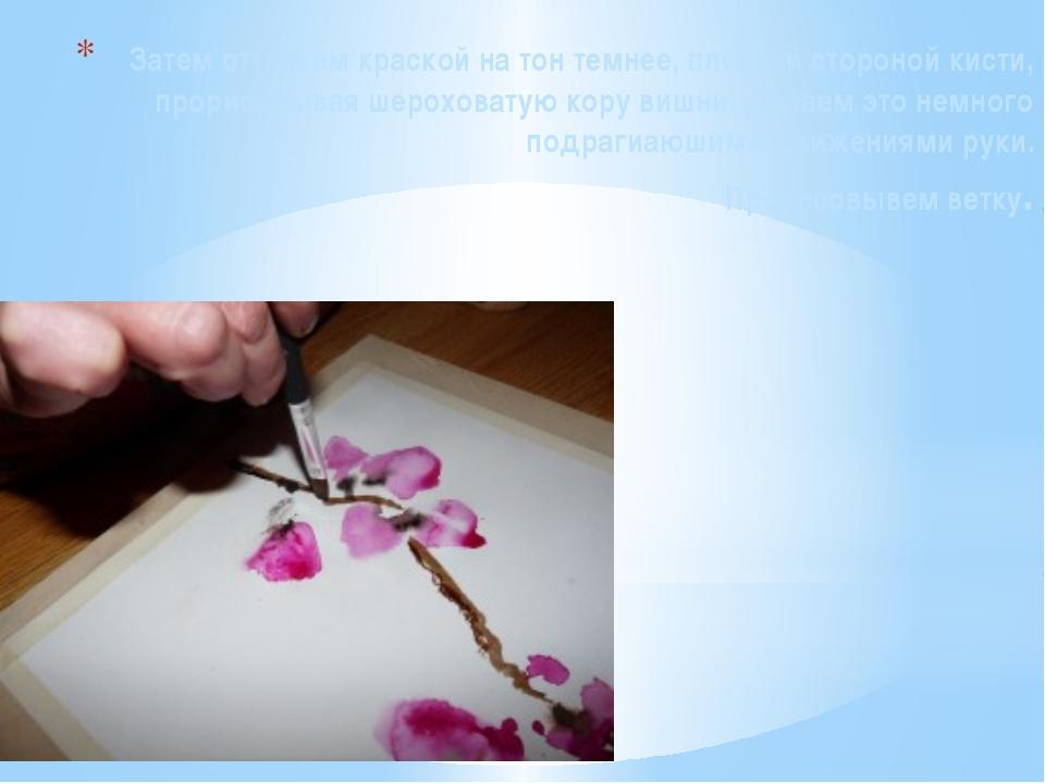 Затем оттеняем краской на тон темнее, плоской стороной кисти, прорисовывая ше...