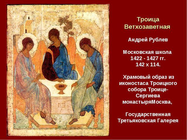 Троица Ветхозаветная Андрей Рублев Московская школа 1422 - 1427 гг. 142 x 11...