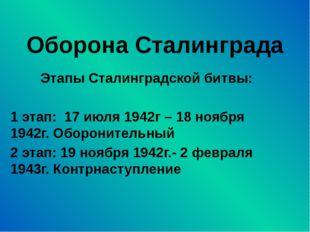Оборона Сталинграда Этапы Сталинградской битвы: 1 этап: 17 июля 1942г – 18 но