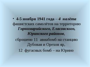 4-5 ноября 1941 года – 4 налёта фашистских самолётов на территорию Горномарий