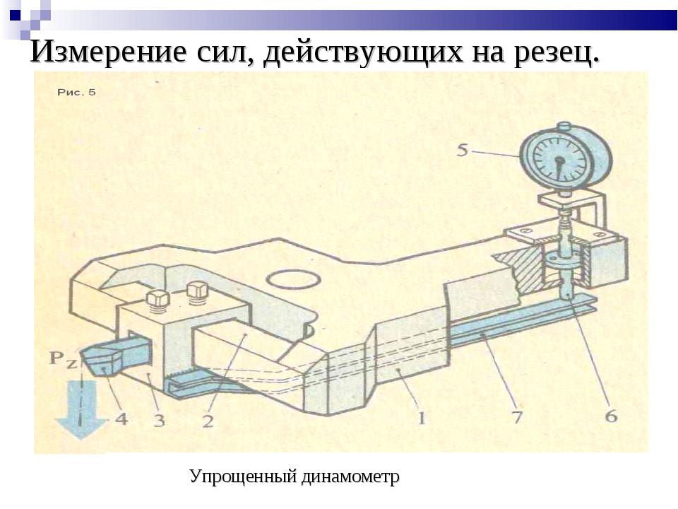 Измерение сил, действующих на резец. Упрощенный динамометр