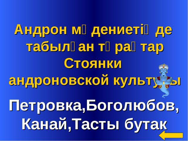 Петровка,Боголюбов, Канай,Тасты бутак Андрон мәдениетіңде табылған тұрақтар С...