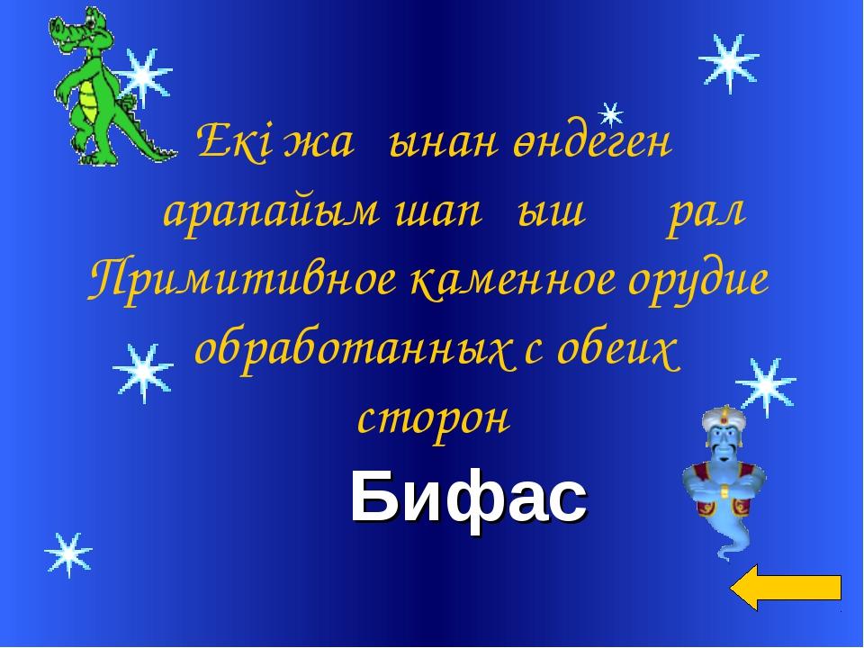 Бифас Екі жағынан өндеген Қарапайым шапқыш құрал Примитивное каменное орудие...