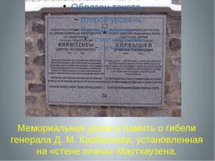 Мемориальная доска в память о гибели генерала Д.М.Карбышева, установленная