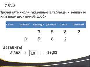 У 656 Прочитайте числа, указанные в таблице, и запишите их в виде десятичной