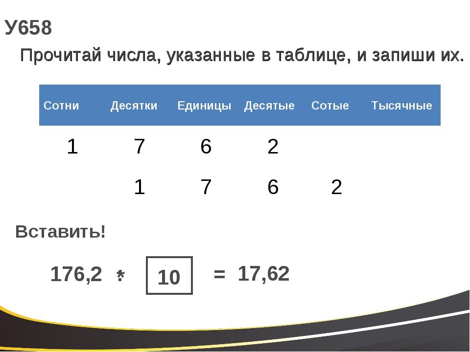 У658 Прочитай числа, указанные в таблице, и запиши их. Вставить! 176,2 * 17,6...