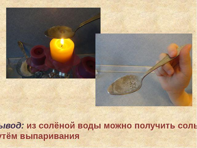 Вывод: из солёной воды можно получить соль путём выпаривания