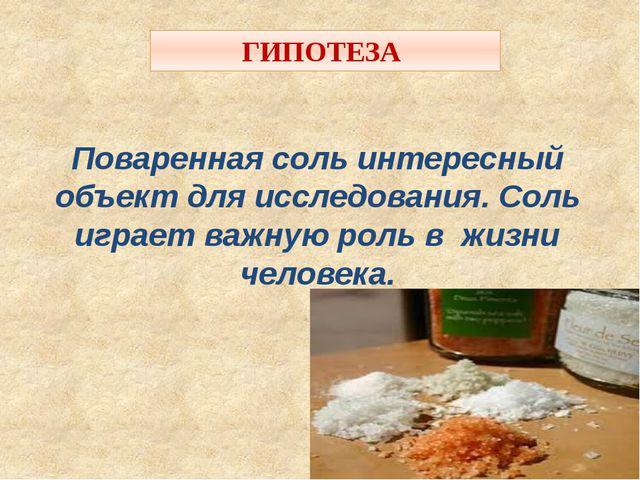 ГИПОТЕЗА Поваренная соль интересный объект для исследования. Соль играет важн...