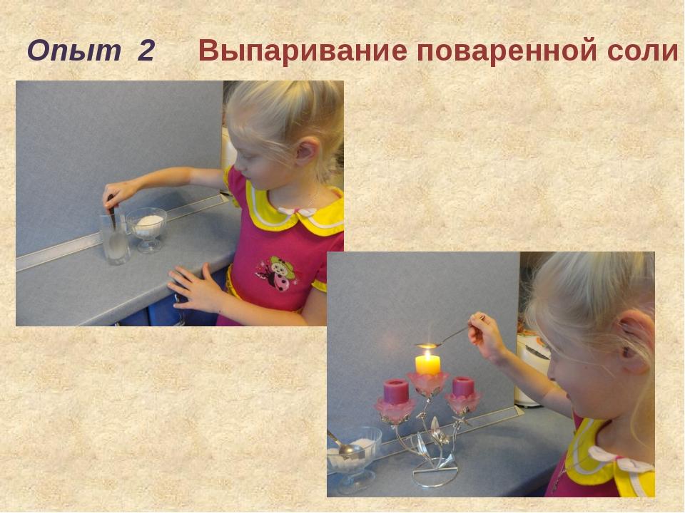 Опыт 2 Выпаривание поваренной соли