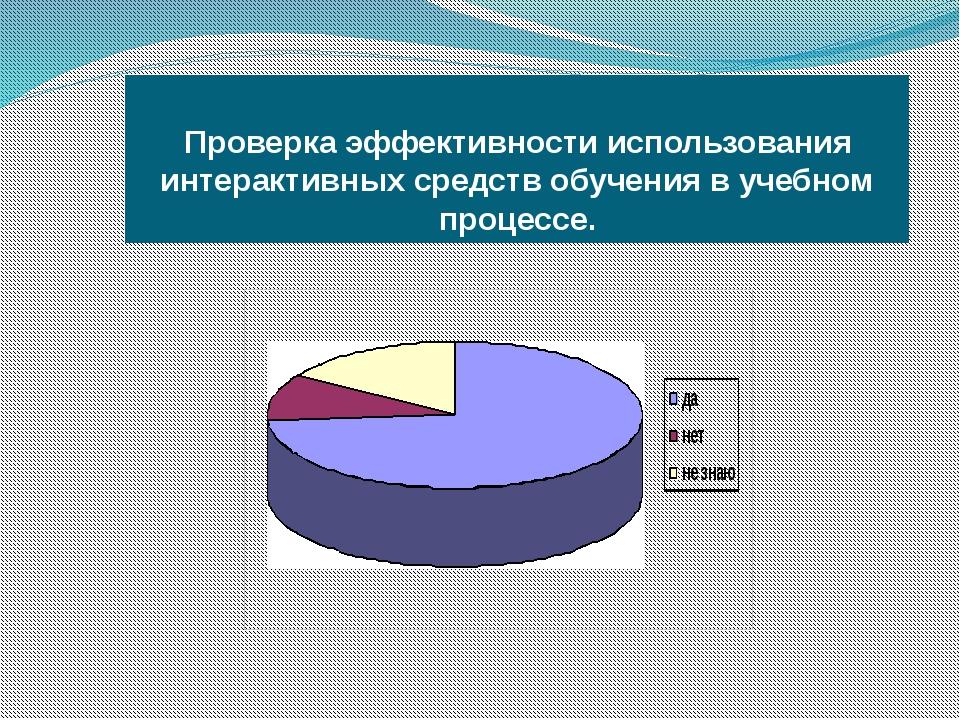 Проверка эффективности использования интерактивных средств обучения в учебно...
