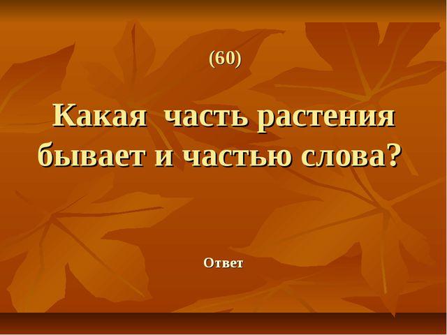 (60) Какая часть растения бывает и частью слова? Ответ