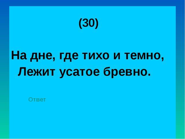 (30) На дне, где тихо и темно, Лежит усатое бревно. Ответ