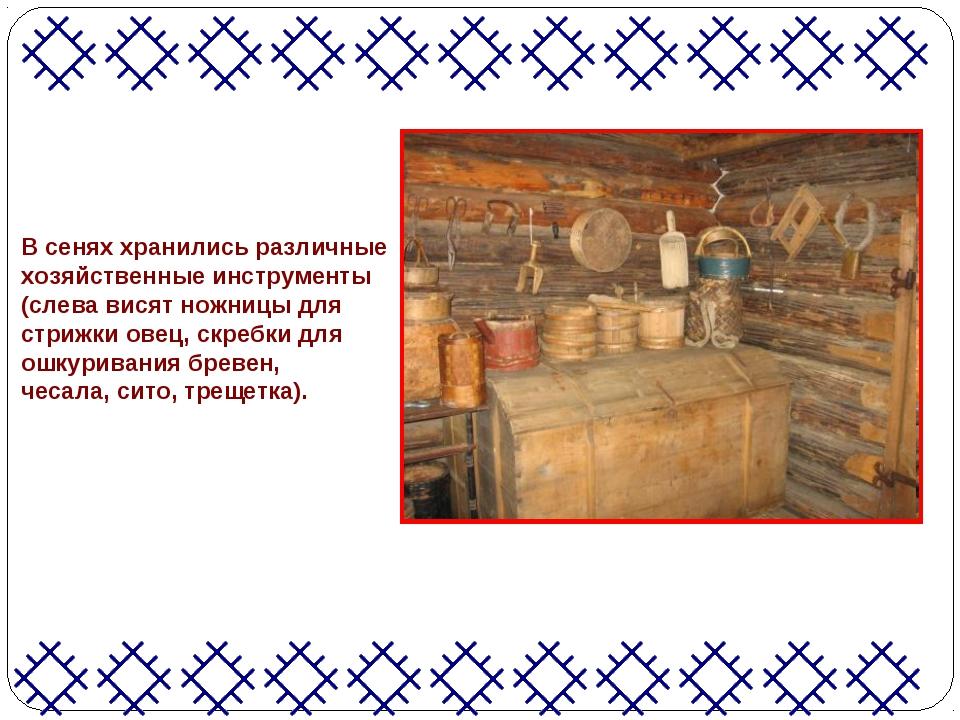 В сенях хранились различные хозяйственные инструменты (слева висят ножницы дл...
