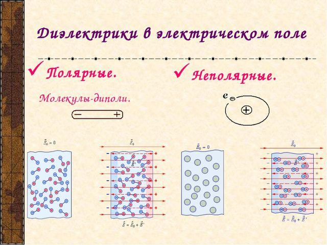 Диэлектрики в электрическом поле Полярные. Молекулы-диполи. Неполярные.