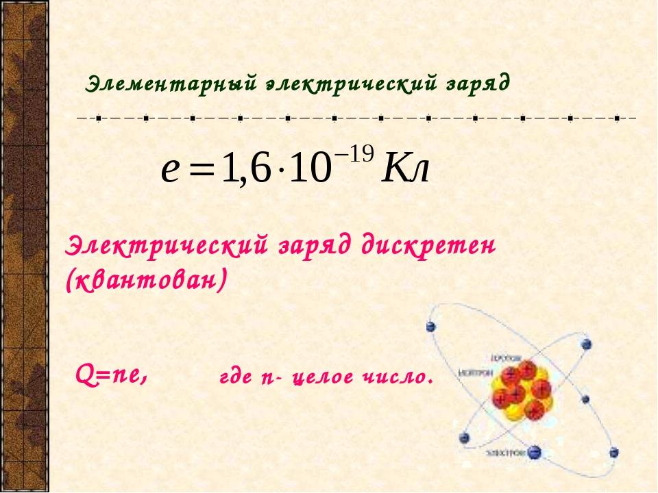 Элементарный элeктрический заряд Электрический заряд дискретен (квантован) Q=...