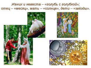 Жених и невеста – «голубь с голубкой»; отец – «месяц», мать – «солнце», дети