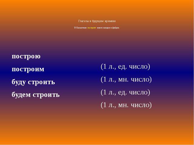 Глаголы в будущем времени В Казахстане построят много заводов и фабрик. постр...