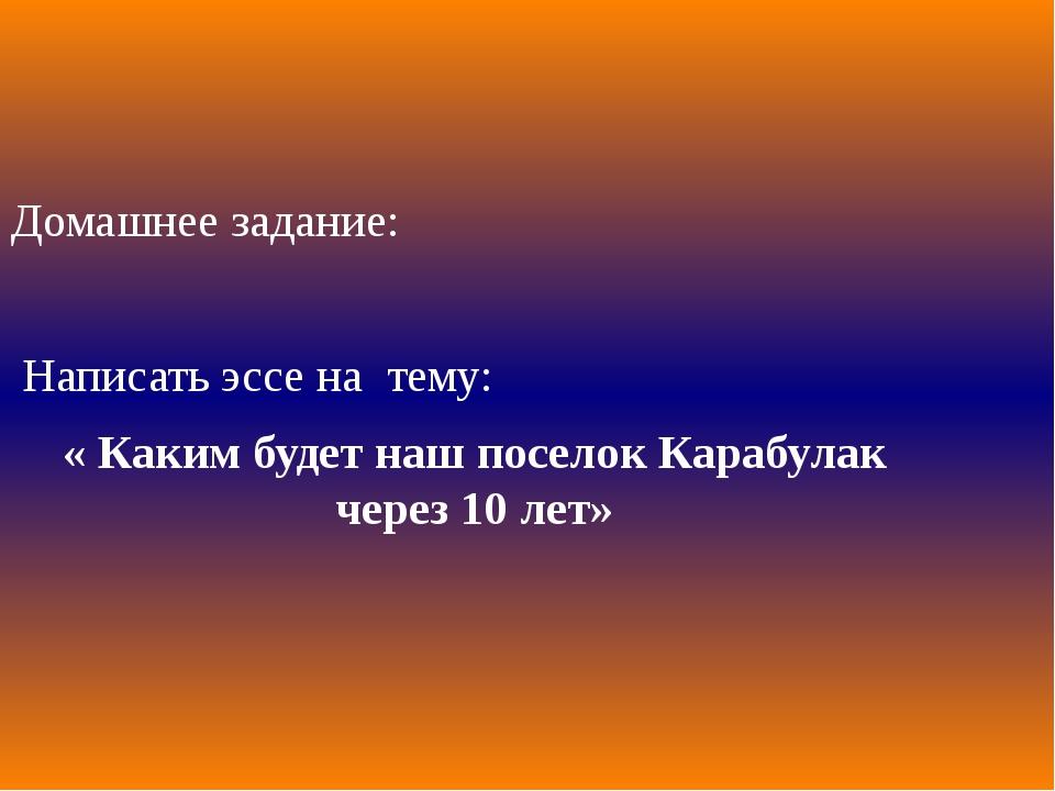 Домашнее задание: Написать эссе на тему: « Каким будет наш поселок Карабулак...