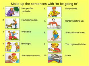 """Make up the sentences with """"to be going to"""" He/open/his umbrella. He/feed/his"""