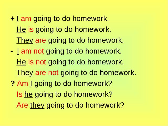 + I am going to do homework. He is going to do homework. They are going to do...