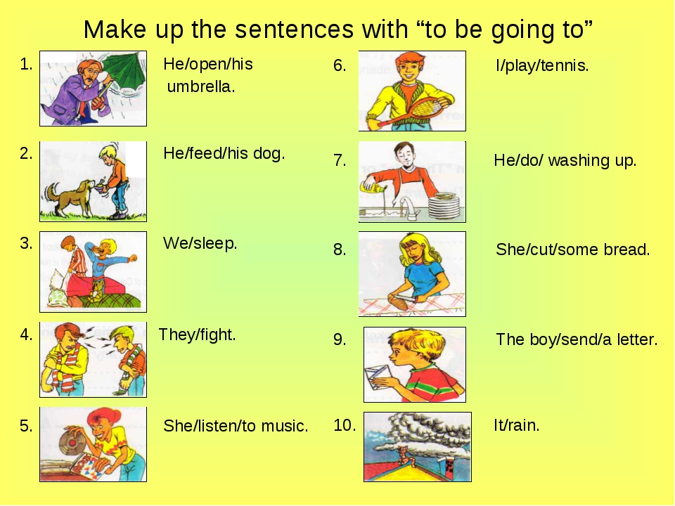 """Make up the sentences with """"to be going to"""" He/open/his umbrella. He/feed/his..."""