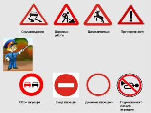 Скользкая дорога Дорожные работы Дикие животные Прочие опасности Обгон запрещ