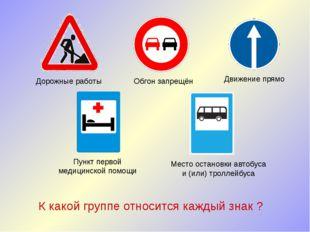 Дорожные работы Обгон запрещён Движение прямо Пункт первой медицинской помощи
