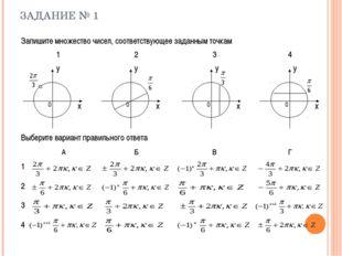 ЗАДАНИЕ № 1 Запишите множество чисел, соответствующее заданным точкам 123