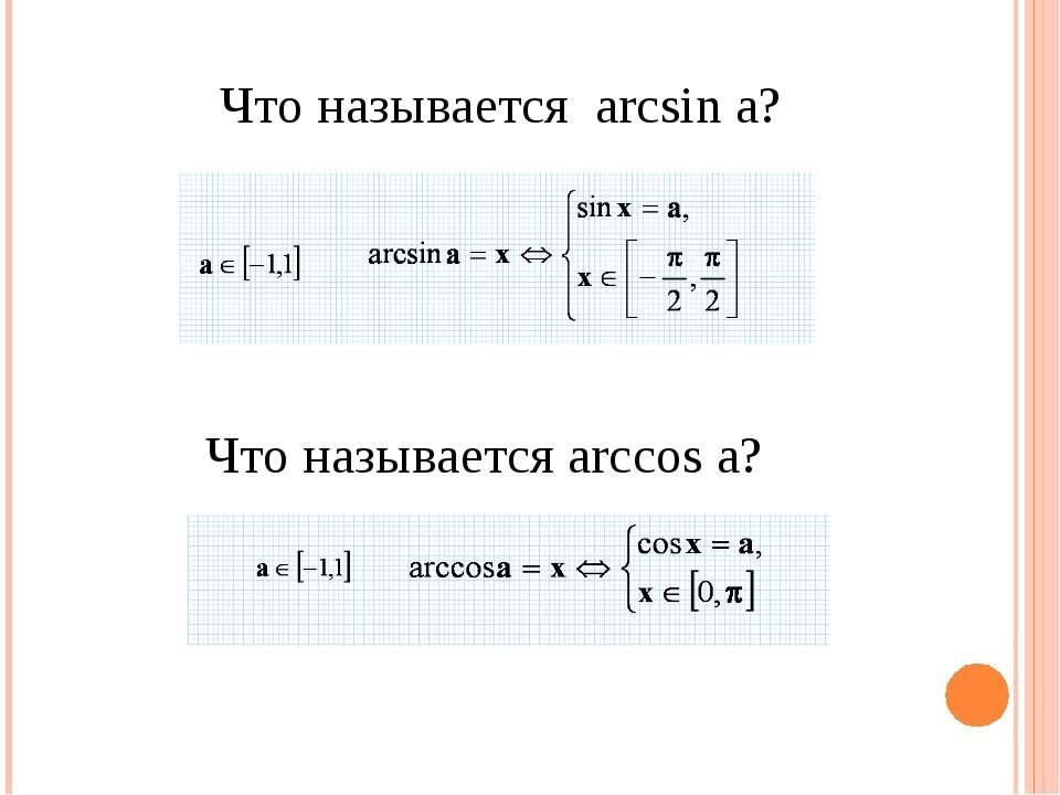 Что называется arcsin a? Что называется arccos a?