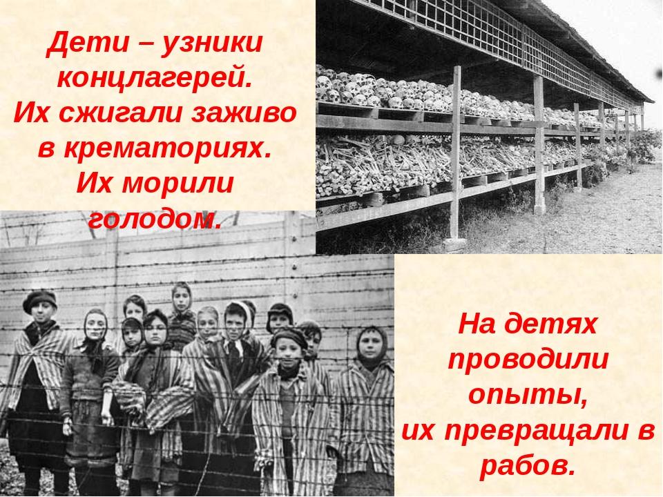 Дети – узники концлагерей. Их сжигали заживо в крематориях. Их морили голодом...