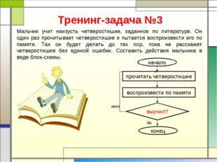 Тренинг-задача №3 Мальчик учит наизусть четверостишие, заданное по литературе
