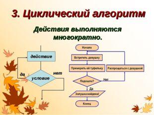 3. Циклический алгоритм Действия выполняются многократно. действие условие да