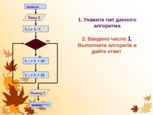 1. Укажите тип данного алгоритма 2. Введено число 1. Выполните алгоритм и дай