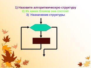 1) Назовите алгоритмическую структуру 2) Из каких блоков она состоит 3) Назна