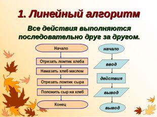 1. Линейный алгоритм Все действия выполняются последовательно друг за другом.